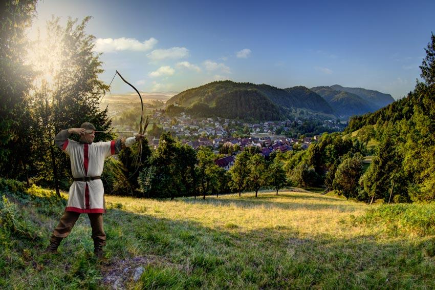 Poslovna Fotografija Loski grad vzhod sonca    Lokostrelec